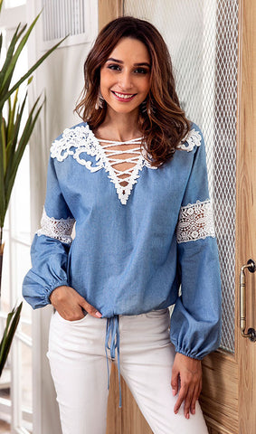 V Neck Lace Splicing Blouse