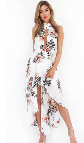 Floral Hollow Sleeveless Open Back High Low  Dress