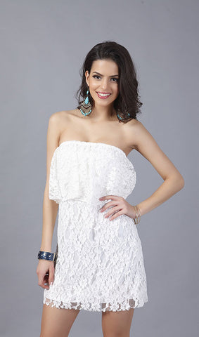 Strapless White Lace Mini Dress