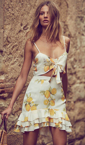 Lemon Pattern Crop Top And Skirt Two Pieces Set