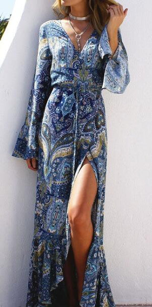 Bohemian Print  Pagoda Sleeve Maxi Dress