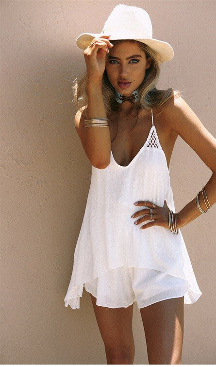 Solid Color Chiffon Mini Dress