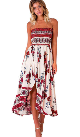 Floral Strapless Slit Maxi Dress