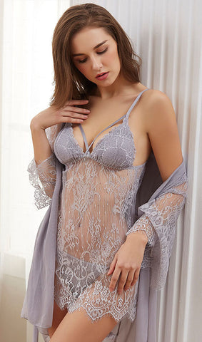 Lace Nightdress Three Pieces Set