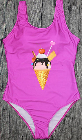 Ice Cream One Piece Backless Swimwear
