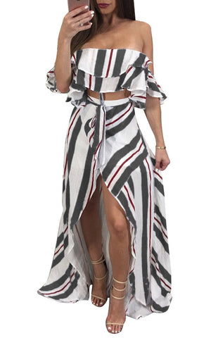 Stripe Strapless Top And Irregular Skirt Two Pieces Set