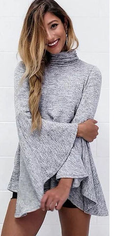 Gray Pagoda Sleeve High Collar Irregular Top