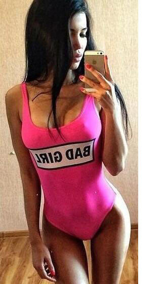 Letter Print Pink Swimsuit