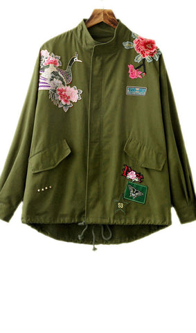 Embroidery Green Jacket
