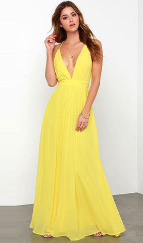 Yellow Deep V Neck  Maxi Dress