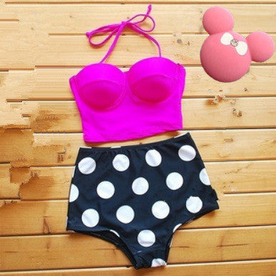Dots Print High Waist  Bikini Set
