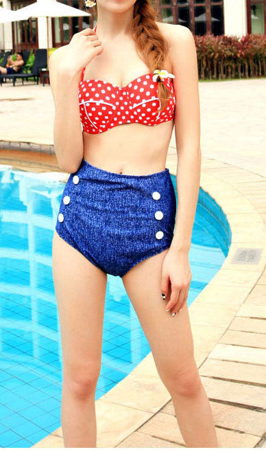 Denim High Waist Bikini Set