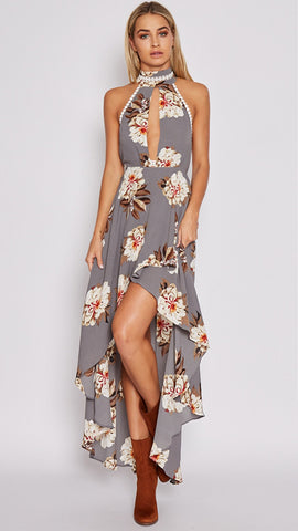 Hollow Floral Irregular Maxi Dress
