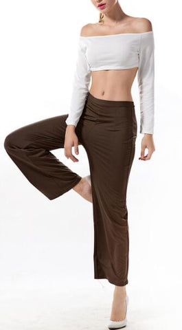 Off The Shoulder White Top And Brown Pants