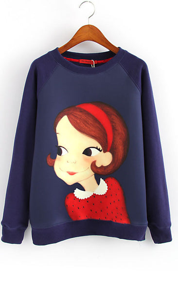 Cartoon Girl Sweatshirt