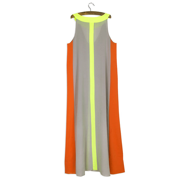 Romoti A New Travel Splicing Sleeveless Loose Long Dress