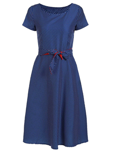 Romoti Open To Everything Navy Blue Dots Print Dress