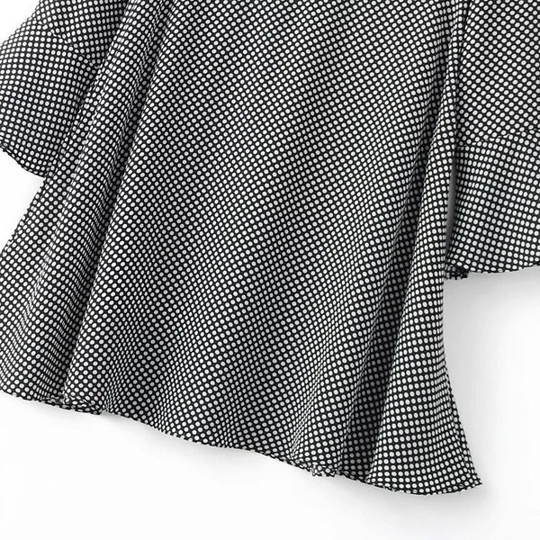 Dots Print Pagoda Sleeve Dress