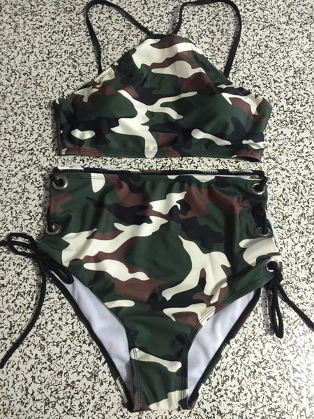 Camouflage Lace Up Bikini Set