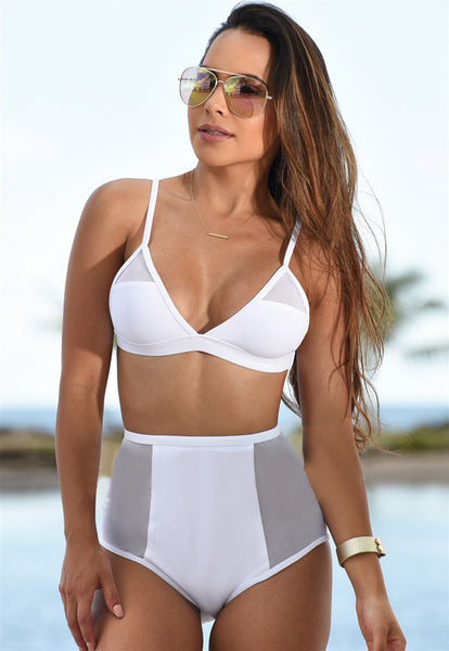 White High Waist Bikini Set