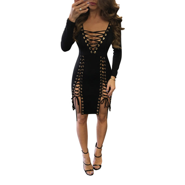 V Neck Hollow Lace Up Bodycon Dress