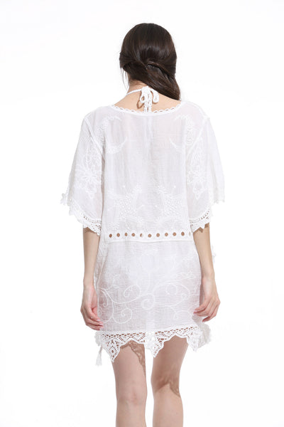 White V Neck Lace Beach Dress