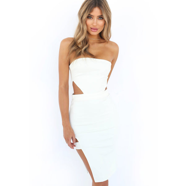 Strapless Cut Out Bodycon Dress