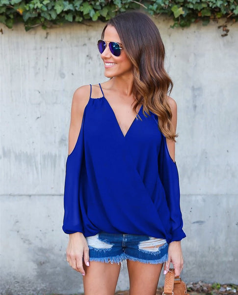 Chiffon Off The Shoulder Cross  Top