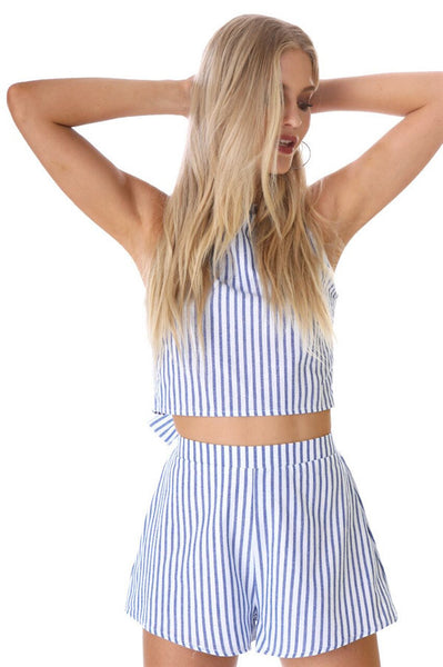 Stripe Crop Top And Shorts Two Pieces Set