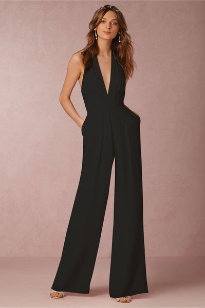 Deep V Neck Backless Romper
