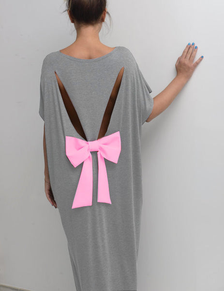 Bow Cotton Maxi Dress