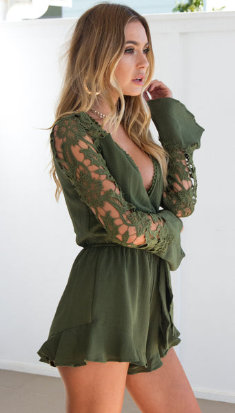Long Sleeve Lace Hollow Romper