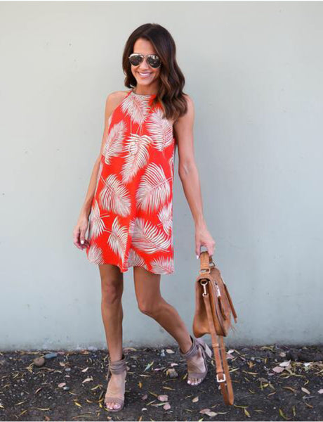 Leaves Print Sleeveless Mini Dress