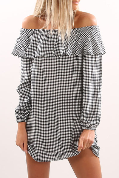 Checked Off The Shoulder Top