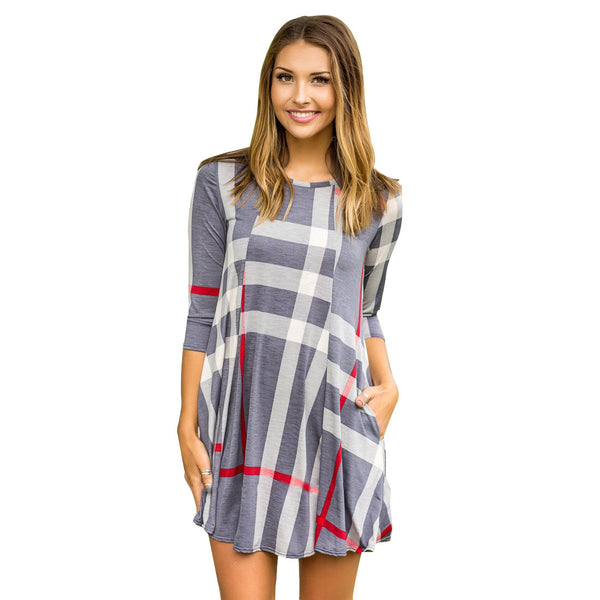 Checked Half  Sleeve Dress
