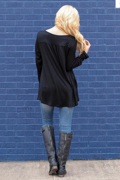 Black Casual High Low Top