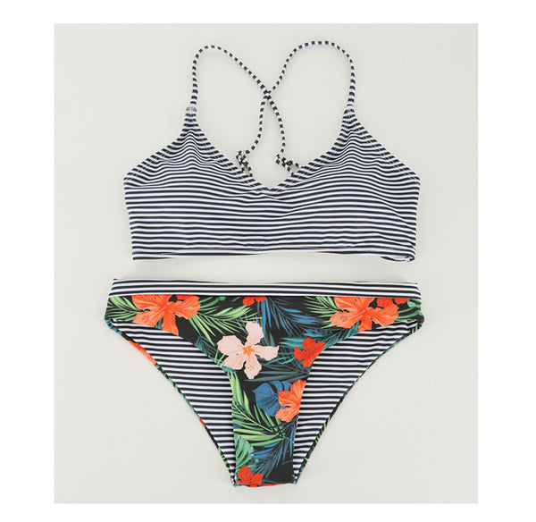 Stripe And Floral Bikini Set