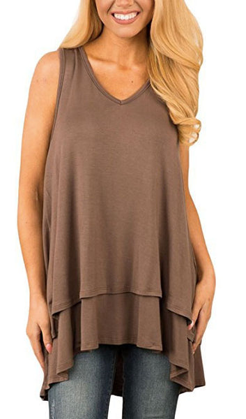 V Neck Irregular Top