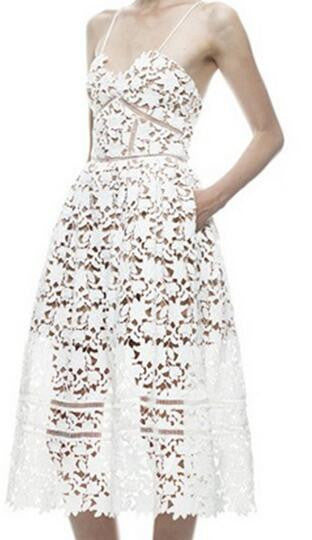 Romoti Spaghetti Straps Lace Hollow Dress