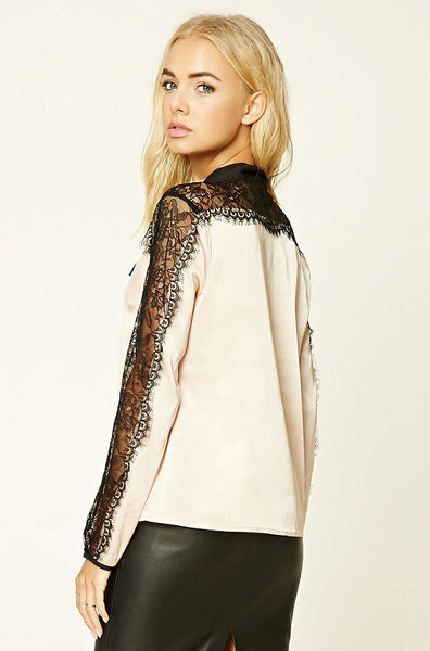 Hollow Lace Splicing Top
