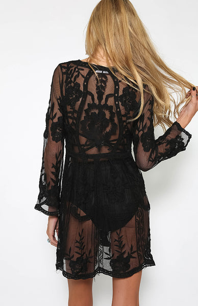 Black See-through Lace Dress
