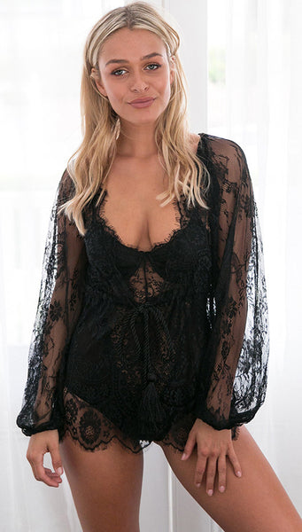 Deep V Neck Lace Top