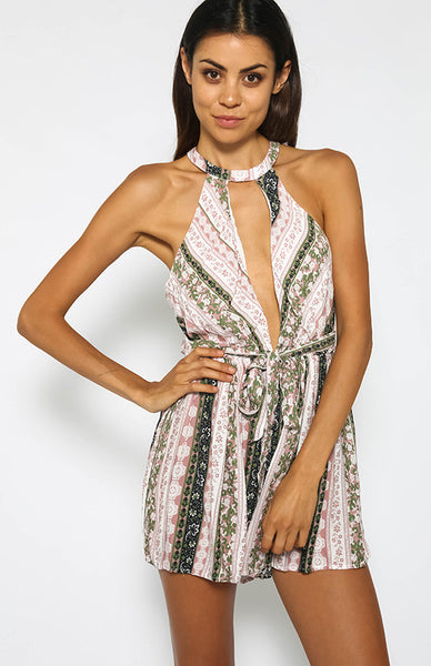 Deep V Neck Floral Open Back Romper