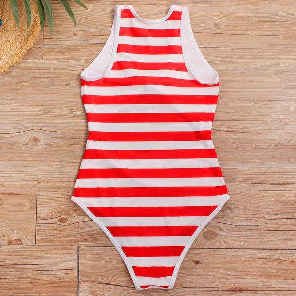 Stripe Print Cut Out One Piece Swimsuit