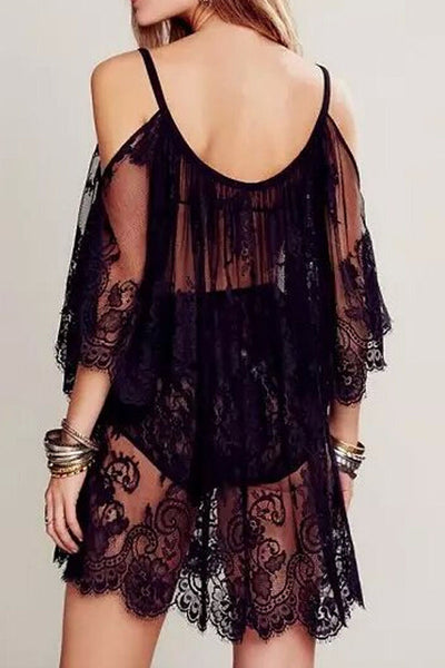Romoti Black Off the Shoulder Sheer Lace Beach Dress
