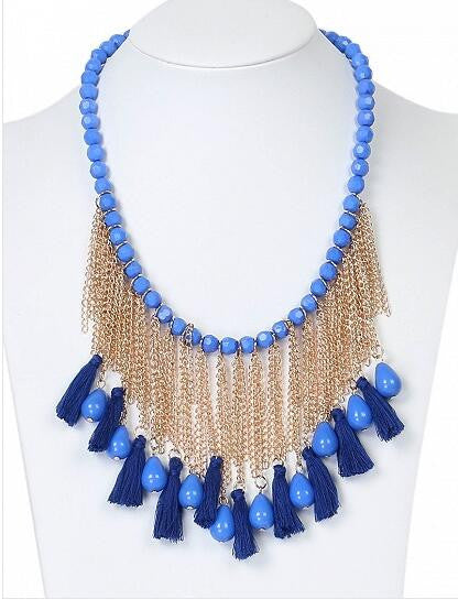 Blue Crystal Tassel Multi Layer Beaded Detail Necklace
