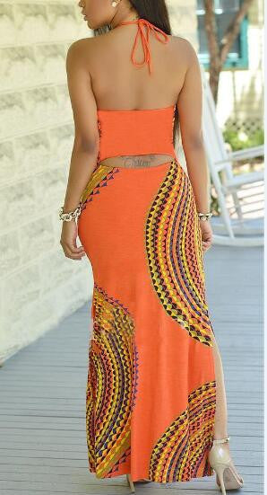 Bohemian Print Slit Halter Maxi Dress
