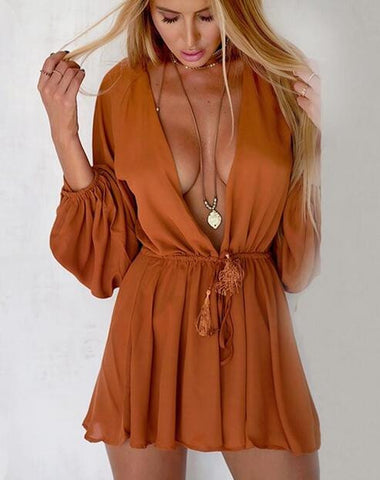 Brown Long Sleeve Drawstring Waist Romper
