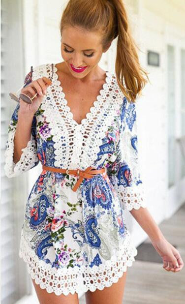 Casual Floral Print Lace Mini Dress