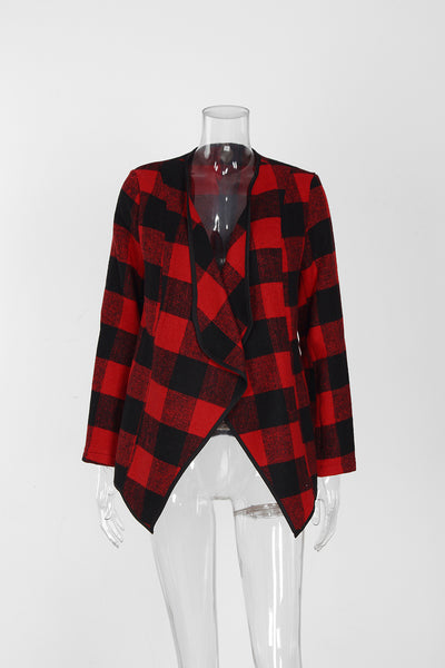 Checked Print Lapel Cardigan
